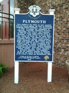 Plymouth History sign in front of Town Hall