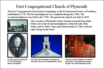 Interpretive sign outside Plymouth Congregational Church on the Green