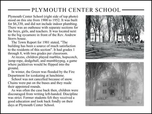 Plymouth Center School interpretive sign