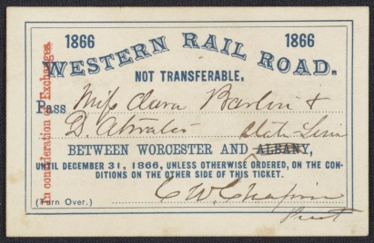 Complimentary Railroad Pass for Clara Barton and Dorence Atwater. Courtesy US General Services Administration and Library of Congress