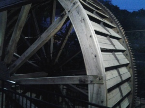 Terryville Water Wheel is lit at night