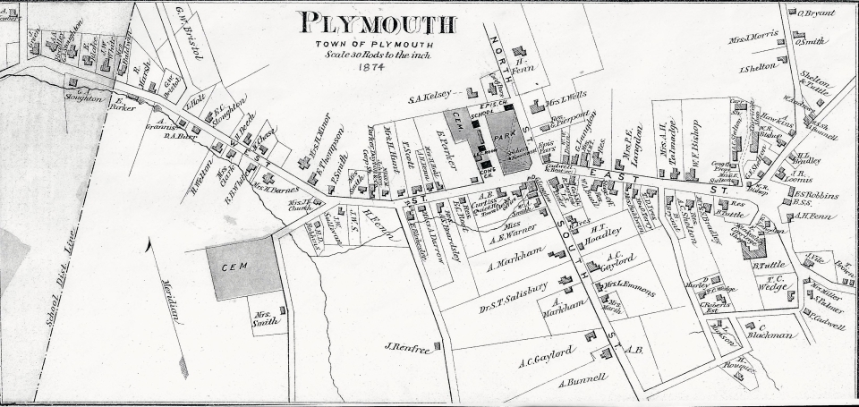 1874 Map of Plymouth Center