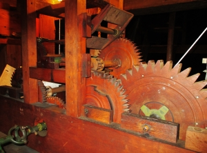The wooden gears of the tower clock in the Plymouth Congregational Church were built by Eli Terry.